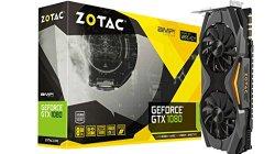 ZOTAC GeForce GTX 1080 AMP! Edition, ZT-P10800C-10P, 8GB GDDR5X IceStorm Cooling, Metal Wraparound Carbon ExoArmor exterior, Ultra-wide 100mm Fans, Spectra Lighting, PowerBoost, FREEZE fan stop