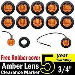 10 Pcs TMH 3/4″ Inch Mount Amber LED Clearance Markers Bullet Marker lights, side marker lights, led marker lights, led side marker lights, led trailer marker lights, trailer marker light