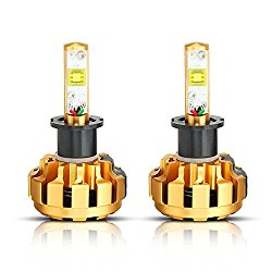 Auxbeam F-16 Series H3 LED Headlight Bulbs Conversion Kit with 2 Pcs of Headlight Bulbs 60W 6000lm CREE LED Chips Fog Light Built-in CANBus
