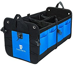 Best Premium Car-Auto Trunk Organizer – Ideal for Vehicles SUV Van Car Truck – Strong Beautiful Multipurpose, Eco-Friendly, Customizable cargo compartments, Non-Skid Bottom, 11 pockets, Collapsible