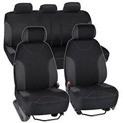 Charcoal Trim Black Car Seat Covers Full 9pc Set – Sleek & Stylish – Split Option Bench 5 Headrests Front & Rear Bench