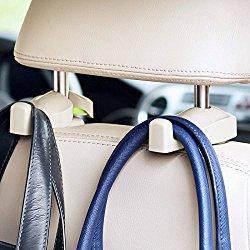 IPELY Universal Car Vehicle Back Seat Headrest Hanger Holder Hook for Bag Purse Cloth Grocery (Beige -Set of 2)