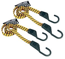 Keeper 06104 Ultra 48″ Black/Yellow Flat Bungee Cord, 2 Pack