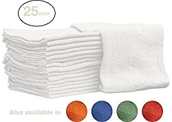 Nabob Wipers Shoptowelwhitw Auto-Mechanic Shop Towels Rags, 100% Cotton Commercial Grade Perfect for Your Home, Garage and Auto, White, 14″ L, 25 Piece