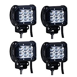 Nilight 4PCS 18W Spot Led Light Bar Off Road Driving Fog Lamp Super Bright  LED Work Light  for SUV Boat 4″ Jeep Lamp,2 years Warranty