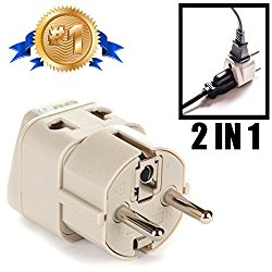 OREI Grounded Universal 2 in 1 Schuko Plug Adapter Type E/F for Germany, France, Europe, Russia & more – CE Certified – RoHS Compliant