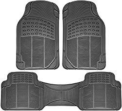 OxGord Universal Fit 3-Piece Full Set Ridged Heavy Duty Rubber Floor Mat – (Gray)