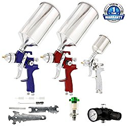TCP Global Brand HVLP Spray Gun Set – 3 Sprayguns with Cups, Air Regulator & Maintenance Kit for all Auto Paint, Primer, Topcoat & Touch-Up, One Year Warranty