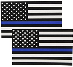 Thin Blue Line Flag Decals – 3×5 in. Black, White, and Blue American Flag Stickers for Cars, Trucks – In Support of Police and Law Enforcement Officers (2-pack)