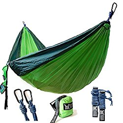 Winner Outfitters Double Camping Hammock, Yard. 118″(L) x 78″(W), Dark Green/Green Color