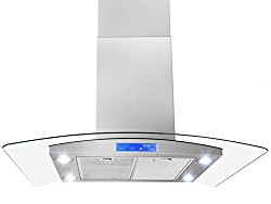 FIREBIRD 30″ Stainless Steel Tempered Glass LED Display Touch Control Panel Island Mount Kitchen Vent Cooking Fan Range Hood