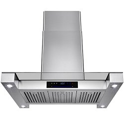 Golden Vantage 36″ Inch Convertible Stainless Steel Island Mount Range Hood Cooker Fan Oven Vent Exhaust With Touch Screen Panel Display LED Controls Light Lamp Baffle Filters