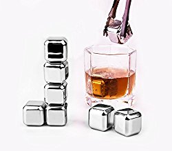 Whiskey Stones – Yukiss Set of 8 with Plastic Storage Box Tongs, Stainless Steel Reusable Wine Ice Cubes, Whiskey Chilling Rocks, Whisky Stones and Sipping Stones