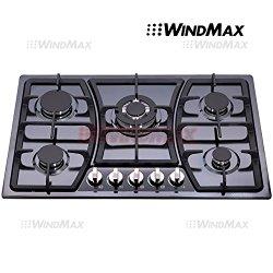 Windmax 30 in Black Titanium Stainless Steel 5 Burners Built-In Stoves NG/LPG Cooktop Cooker