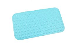ABELE (R) Ultra Soft TPR (No Smell) Rubber Blue Bubble Non Slip Baby Kids Safety Shower Bath Tub Mat, Skid Proof and Anti Bacterial, Mildew Mold Resistant Bathtub Mat (Blue)