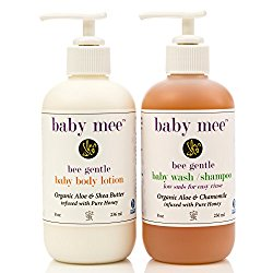 Baby Lotion and Body Wash Set – Organic Aloe, Organic Chamomile, Shea Butter & Bee Honey. Best Daily Moisturizer & Gentle Natural Shampoo With Low Sudsing No Tear Formula – Great Gift For New Moms