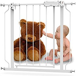 Baby Safety Gate with Walk-Thru Door – From 29″ to 39″ with 1 Extension – Strong Durable Metal with Easy Locking System – Great for Doorways, Staircases, Children or Pets