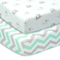 CUDDLY CUBS Set of 2 Jersey Cotton Fitted Crib Sheets in Gray and Mint with Chevron & Elephants – TOP QUALITY Nursery Bedding for Boy or Girl, Ideal Baby Shower Gift