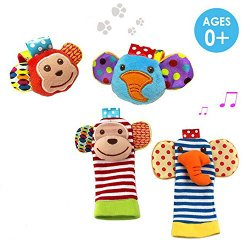 Daisy 4 x Animal Infant Baby Kids Wrist Rattle & Foot Finder Set Developmental Soft Toys – Monkey and Elephant