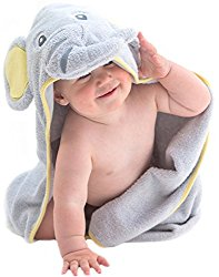 EXTRA SOFT Elephant Baby Hooded Towel – 100% Cotton Baby Bath Towel – Perfect For Baby Shower – Newborn Or Toddler Girls And Boys