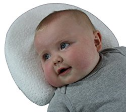 Infant Head Shaping Memory Foam Pillow & Organic Bamboo Pillowcase. Luxury Baby Shower Gift to KEEP a baby's head round. No Flat head or Plagiocephaly (White)