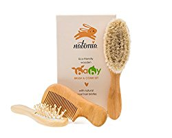 Natemia Premium Wooden Baby Hair Brush and Comb Set – Natural Soft Bristles – Ideal for Cradle Cap – Perfect Baby Registry Gift