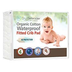 Organic Cotton Waterproof Fitted Crib Pad – Natural Baby Crib Mattress Cover & Protector – Unbleached, Non-Toxic & Hypoallergenic