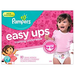 Pampers Girls Easy Ups Training Underwear,  2T-3T (Size 4), 80 Count – Packaging May Vary