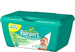 Pampers Natural Clean Baby Wipes – Tub – 72 ct