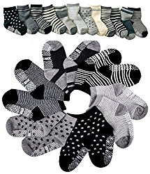 Pro1rise® Assorted 6 Pairs Non-skid Baby Boys Toddler Anti Slip Stretch Knit Stripes Star Cotton Grips Socks Slippers 12 – 36 Months