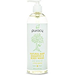 Puracy Natural Baby Shampoo & Body Wash – Sulfate-Free – THE BEST Bubble Bath – Developed By Doctors for Children of All Ages – Gentle – Tear-Free – Hypoallergenic – 16 ounce bottle