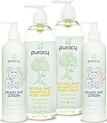 Puracy Natural & Organic Baby Care Gift Set – Baby Shampoo, Bubble Bath, Body Wash & Lotion Skin Care Bundle – Sulfate & Paraben-Free – Developed by Doctors Using Award Winning Ingredients – Pack of 4