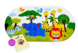 Salinka – Anti Slip Baby Bath Mat – Non slip mat – Many Suction Cups – Durable Mildew Mold Resistant PVC – Colorful Design – Handy Bag for Easy Transport – Free Ebook
