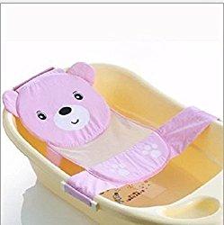 Sealive High Quality Adjustable Baby Bath Seat Support Net Bathtub Sling Shower Mesh Bathing Cradle Rings Gift,Anti-Slipinfant Bath Net(Pink)