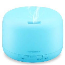 URPOWER 500ml Aromatherapy Essential Oil Diffuser Ultrasonic Air Humidifier with 4 Timer Settings 7 LED Color Changing Lamps, 10 Hours Continous Mist Mode Running – AUTO shut off
