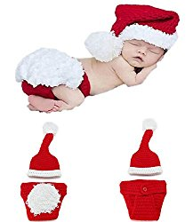 Yonger Newborn Baby Infant Christmas Photography Props Clothes Christmas Hat + Underwear