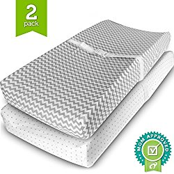 Ziggy Baby Jersey Cotton Changing Pad Cover Set, Grey/White, 2 Pack