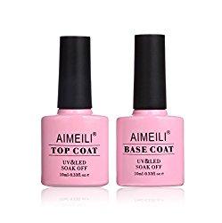 AIMEILI Soak Off UV LED Gel Nail Polish – Base and Top Coat Kit Set 10ml