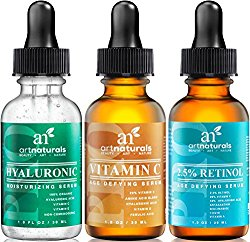 Art Naturals Anti-Aging Set: Vitamin C Serum( 1.0 oz), Retinol Serum (1.0 oz) & Hyaluronic Acid Serum (1.0 oz) for Anti Wrinkle and Dark Circle Remover