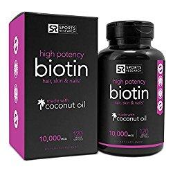 Biotin 10,000mcg in Cold-Pressed Organic Coconut | Non-GMO & Gluten Free – 120 Mini Veggie Softgels