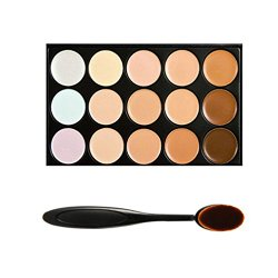 Boolavard® Professional 15 Colour Concealer Camouflage Contour Eye Face Cream Makeup Palette with Cosmetics Oval Make up Brush (15 colours)