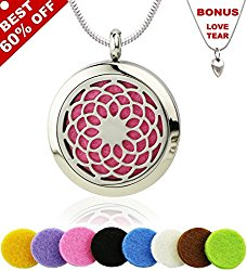 ECOTT Sunflower Aromatherapy Essential Oil Diffuser Necklace with 316L Stainless Steel Locket, 24-Inch Chain and 8 Refill Pads