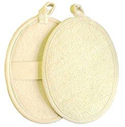 Exfoliating Loofah Pad – 2pack 100% Natural Loofah Sponge Scrubber Brush Close Skin for Men and Women – GAINWELL