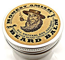 Honest Amish Beard Balm Leave-in Conditioner – All Natural -Vegan Friendly Organic Oils and Butters – 2 ounce tin