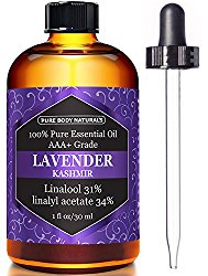 Lavender Essential Oil, Triple AAA+ Grade, 100% Pure and Authentic, 1 fl. Oz from Pure Body Naturals