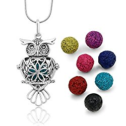 Maromalife Premium Owl Lava Stone Aromatherapy Essential Oil Diffuser Necklace Locket Pendant Gift Set with 24″ Chain and Multi-Colored Beads