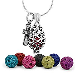 Maromalife Premium Teardrop Lava Stone Aromatherapy Essential Oil Diffuser Necklace Locket Pendant Gift Set with 24″ Chain and Multi-Colored Beads