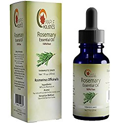 Pure Rosemary Essential – 100% Natural & Therapeutic Grade – Hair Growth, Scalp and Memory Benefits for Women and Men – 1oz – Guaranteed By Maple Holistics