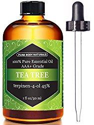 Tea Tree Oil, Highest Quality Triple AAA+ Grade Tea Tree Essential Oil, 45% terpenin-4-ol (Australia) 100% Pure and Authentic, 1 fl. Oz – Pure Body Naturals (1 oz)