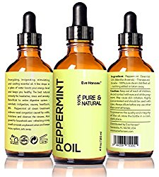Top Rated Peppermint Oil by Eve Hansen – 4 fl.oz – Safe For Ingestion – 100% Natural & Undiluted! It Works or Money Back! Therapeutic Grade Essential Oil with Glass Dropper and Free e-Book!!